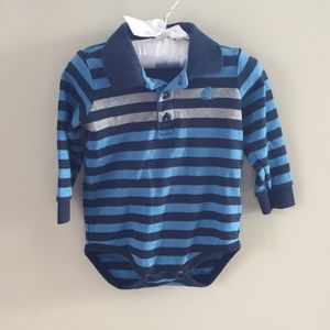 Baby Cottons Long-Sleeve Striped Polo Bodysuit